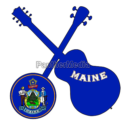 maine state flag banjo and guitar