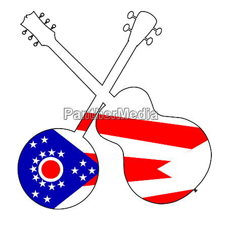 ohio state flag banjo and guitar