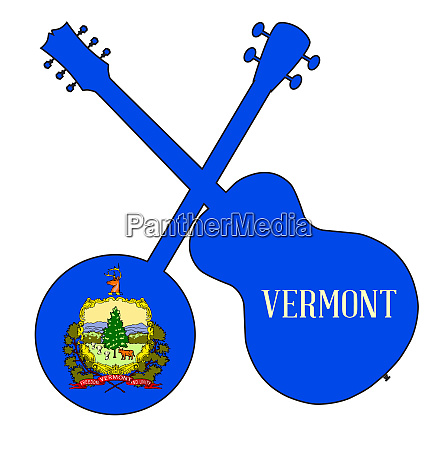 vermont state flag banjo and guitar