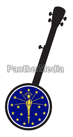 banjo silhouette with indiana state flag