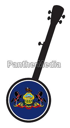 banjo silhouette with pennsylvania state flag