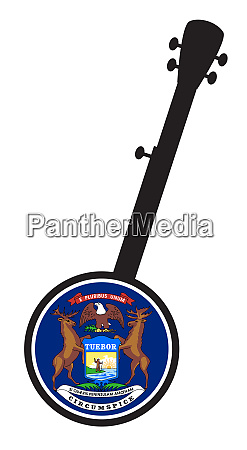 banjo silhouette with michigan state flag