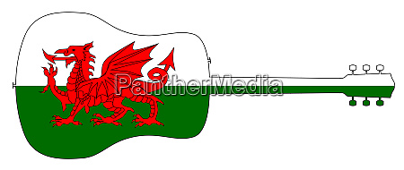 acoustic guitar silhouette with welsh national