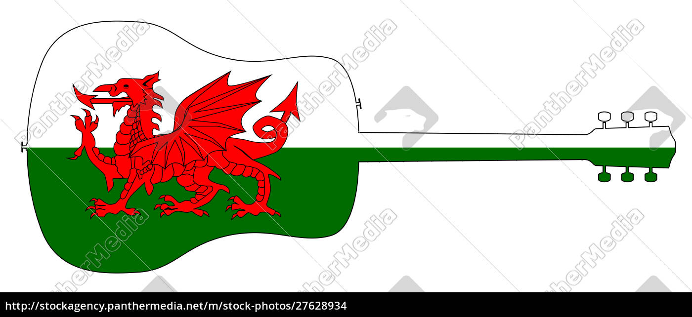 acoustic, guitar, silhouette, with, welsh, national - 27628934
