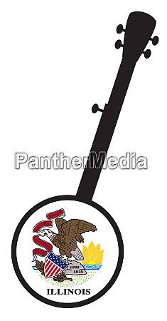 banjo, silhouette, with, illinois, state, flag - 27628916