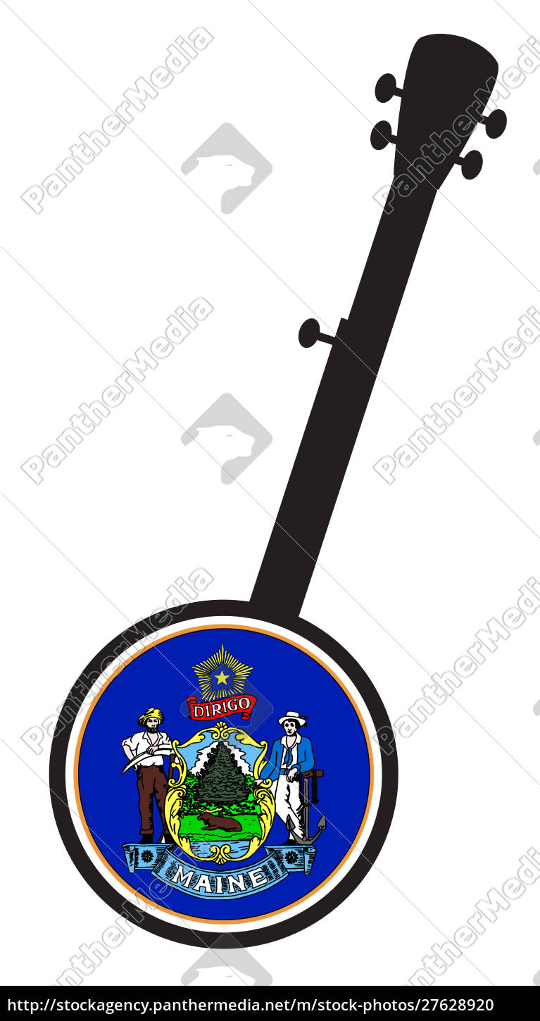 banjo, silhouette, with, maine, state, flag - 27628920