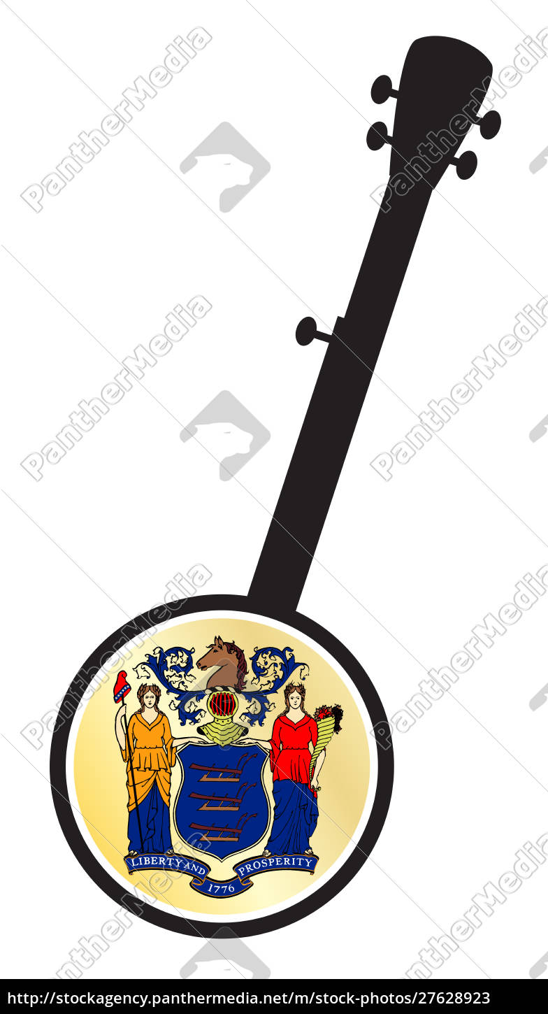 banjo, silhouette, with, new, jersey, state - 27628923