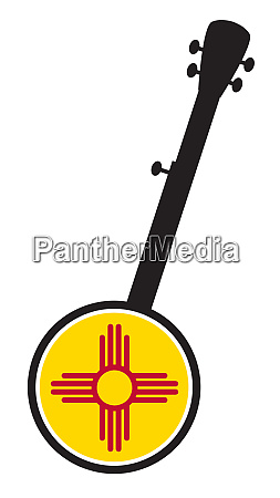 banjo, silhouette, with, new, maxico, state - 27628925