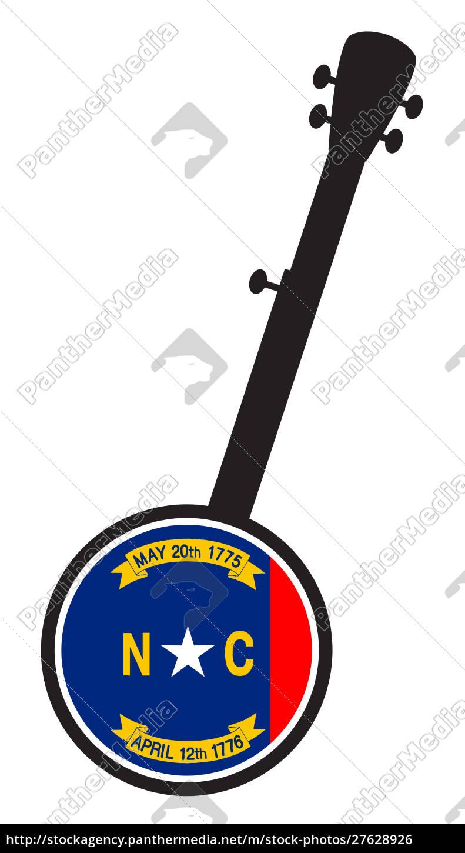 banjo, silhouette, with, north, carolina, state - 27628926