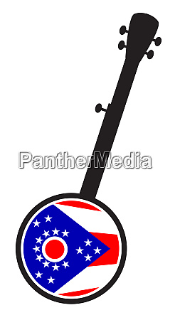 banjo, silhouette, with, ohio, state, flag - 27628927