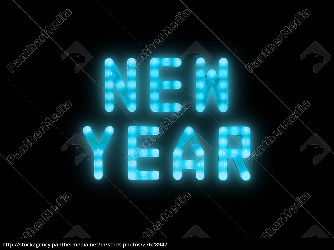 blue, neon, glowing, led, new, year - 27628947