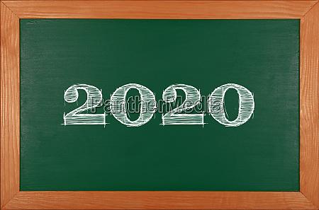 green, school, chalkboard, with, 2020, chack - 27628943