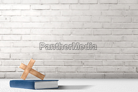 christian cross and bible on the