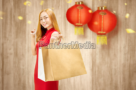 asian chinese woman in cheongsam dress