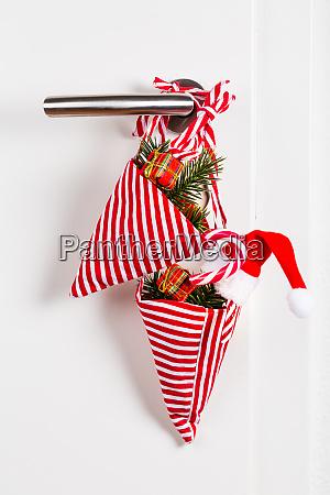 small christmas bag with branch and