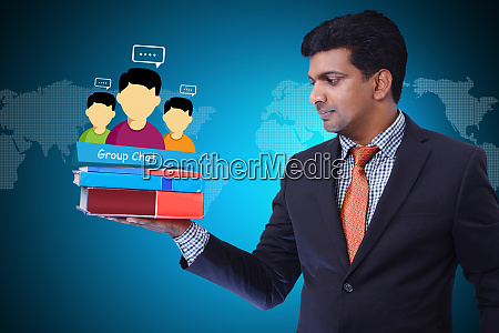 man showing social network concept