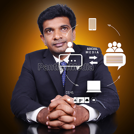 businessman thinking social networking