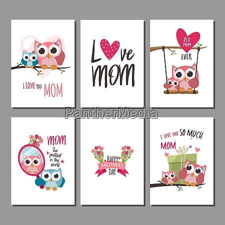 mothers day greeting cards set