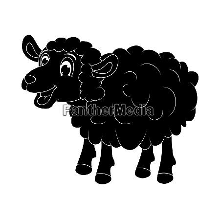 sheep silhouette black mascot character standing