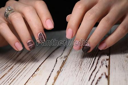 glamorous beautiful manicure on a trendy