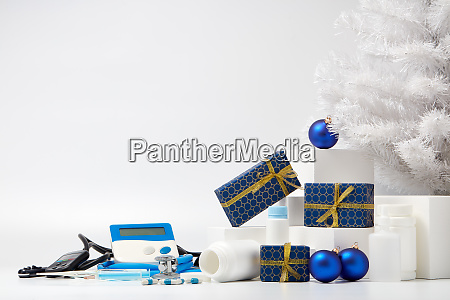 stethoscope medical devices and christmas decorations