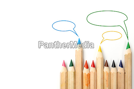colored pencils with three speech bubbles