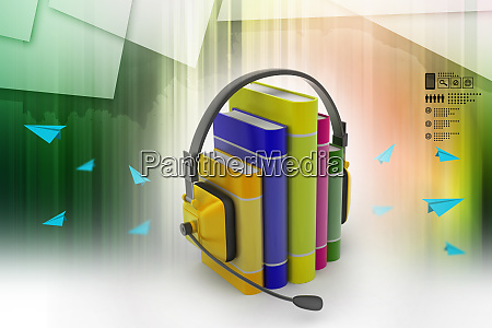 audio book concept with headphones and