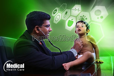 baby with pediatrician