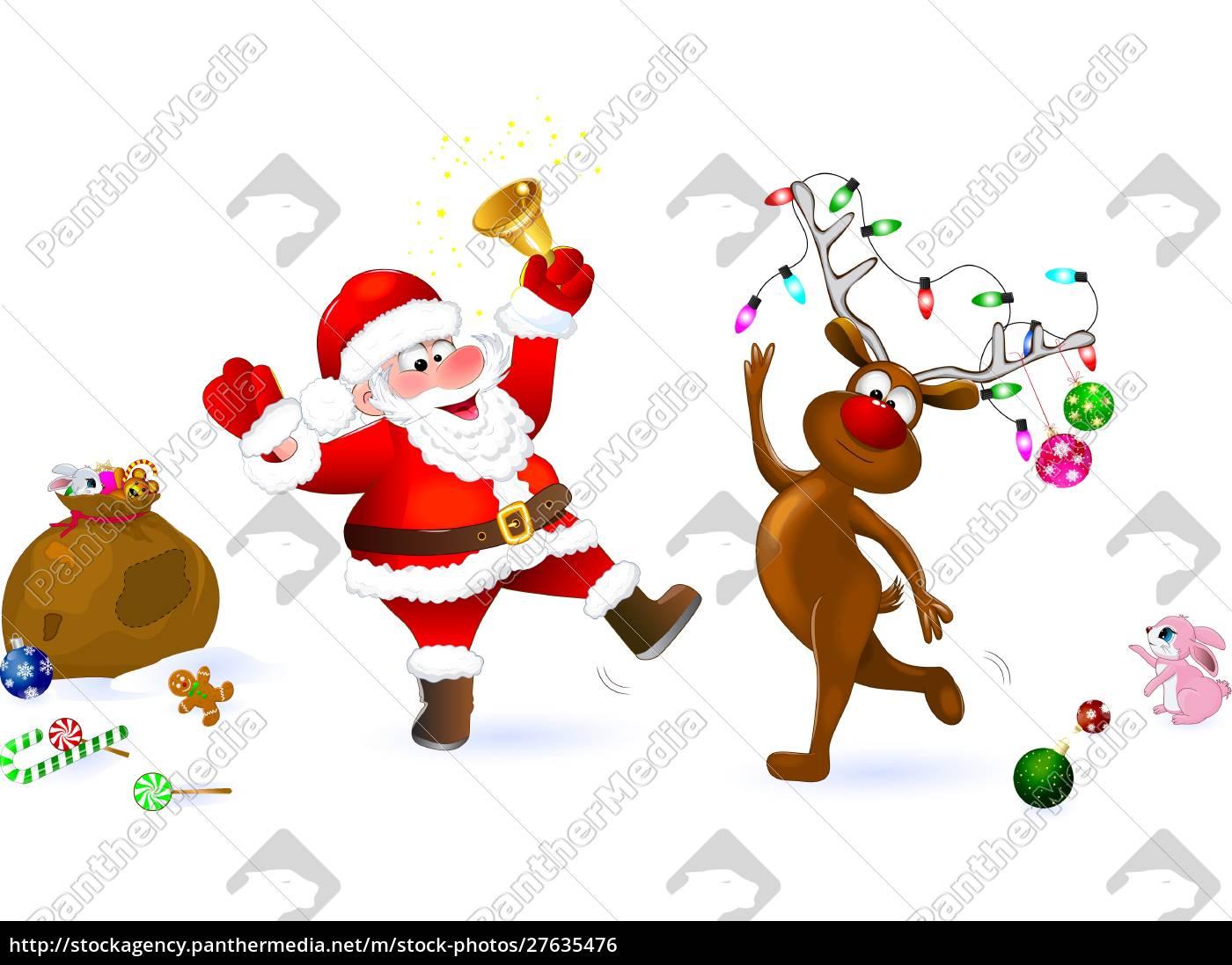 joy, of, christmas, santa, and, deer - 27635476