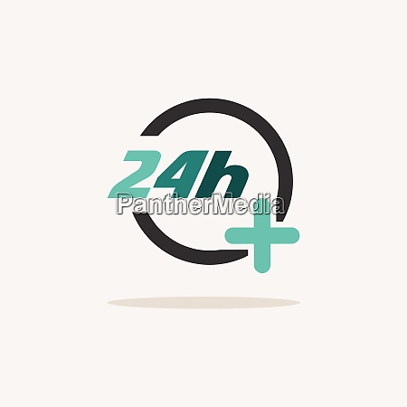 24 hours pharmacy services icon with
