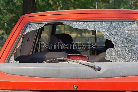 crushed car glass