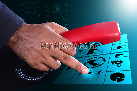 man hand with telephone communication concept