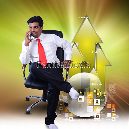 business man sitting growth graph