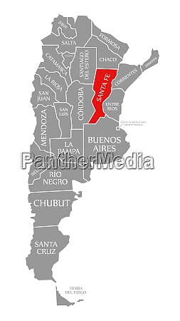 santa fe red highlighted in map