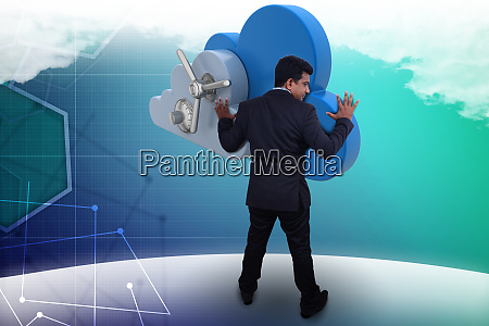 business man looking the cloud storage