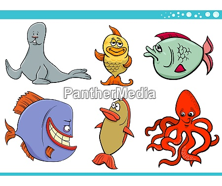 sea life animal species characters collection