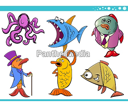 sea life animal cartoon characters collection