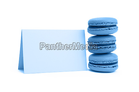 blue macaron cookies with sign isolated