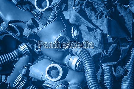 blue toned background of vintage gas