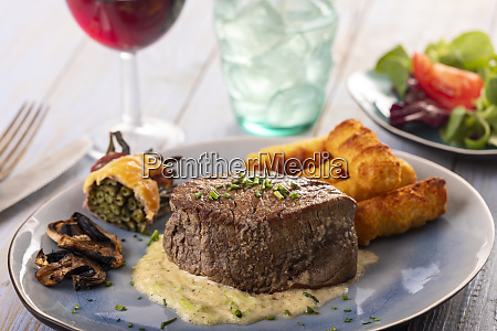 closeup of a steak on a