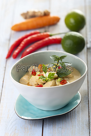 thai tom kha gai soup on