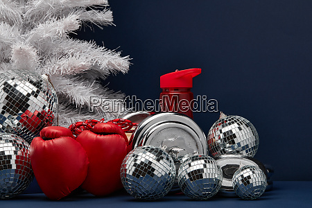 sports equipment and christmas ornaments