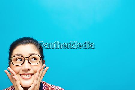 female eyeglasses expression