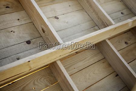 wooden shelves in a market