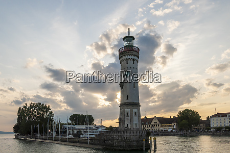 light house in lindau at lake