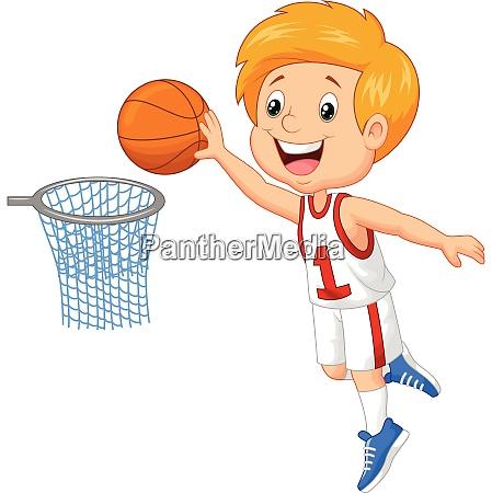 kid playing basket