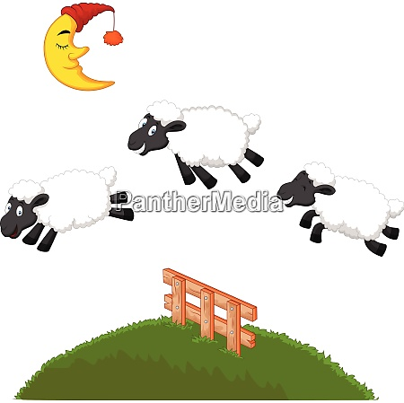 three funny sheep jumping over a