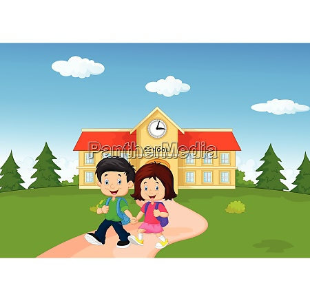 cartoon happy little kids on school