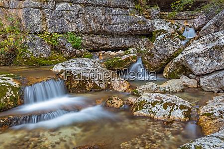 small waterfall at torrente boite veneto