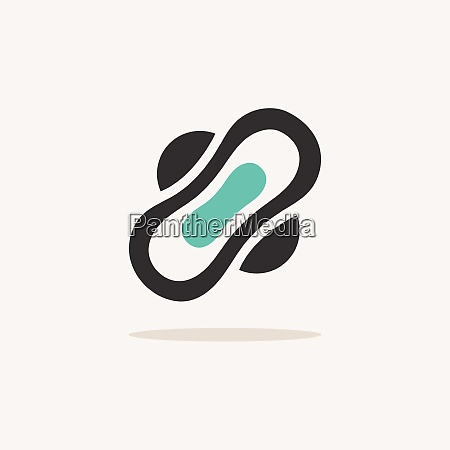sanitary pad icon with shadow on
